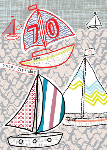 Happy 70th Boats Birthday Card