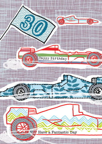 Happy,30th,Racing,Cars,Birthday,Card,buy 30th birthday card online, buy 30th birthday cards for him online, buy age thirty birthday cards with racing cars online, thirtieth birthday cards, birthday cards for age 30, formula 1 racing card, formula 1 30th birthday card, f1 racing card, gone ra