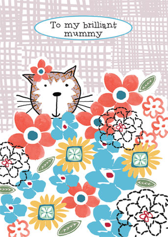 Cat,&,Flowers,Brilliant,Mummy,Birthday,Card,buy mummy birthday card online, buy birthday cards for mummies online, buy birthday cards for mummy online, mummy card, cards for mummies, mummy mothers day card, mummy mother's day card, mummy mothering sunday card, mothering sunday cards for mummies, ca