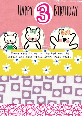 Girls,3rd,Birthday,Bears,Card,buy girls 3rd birthday cards online, buy third birthday card for little girl online, teddy bears age 3 birthday card, there were three in the bed birthday card, nursery rhyme birthday cards for children, age three card, cards for third birthday, age 3 car
