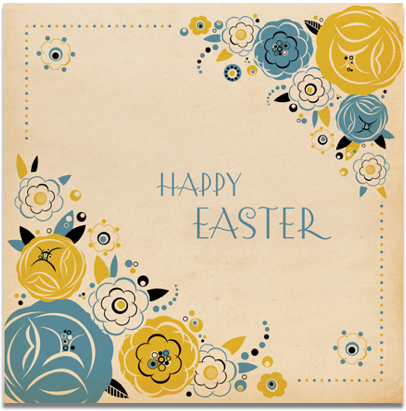Flowers,Happy,Easter,Card,buy easter card online, buy cards for easter online, buy card for easter online, art deco easter card, easter cards with flowers, floral easter card