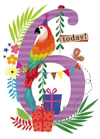 Parrot,6th,Birthday,Card,buy 6th birthday cards online, birthday cards for age six, sixth birthday card, birthday cards for age 6, boys 6th birthday card, girls 6th birthday card, parrot birthday card, jungle animals birthday cards for children, jungle birthday cards