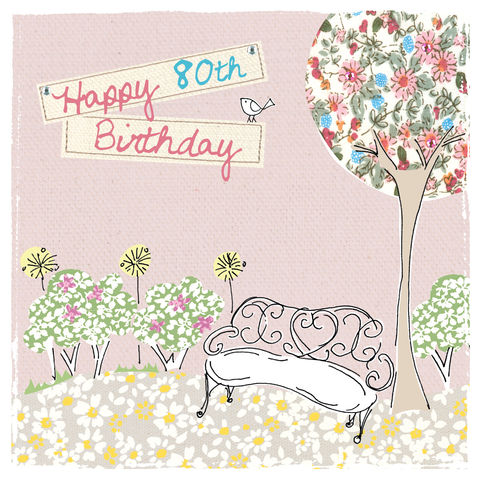 Garden,&,Bench,80th,Birthday,Card,buy 80th birthday card online, buy eightieth birthday cards for her online, female 80th card, 80th birthday card for her, card for 80th, 80th card, age 80 card, eightieth card, age eighty card, birthday card for age eighty