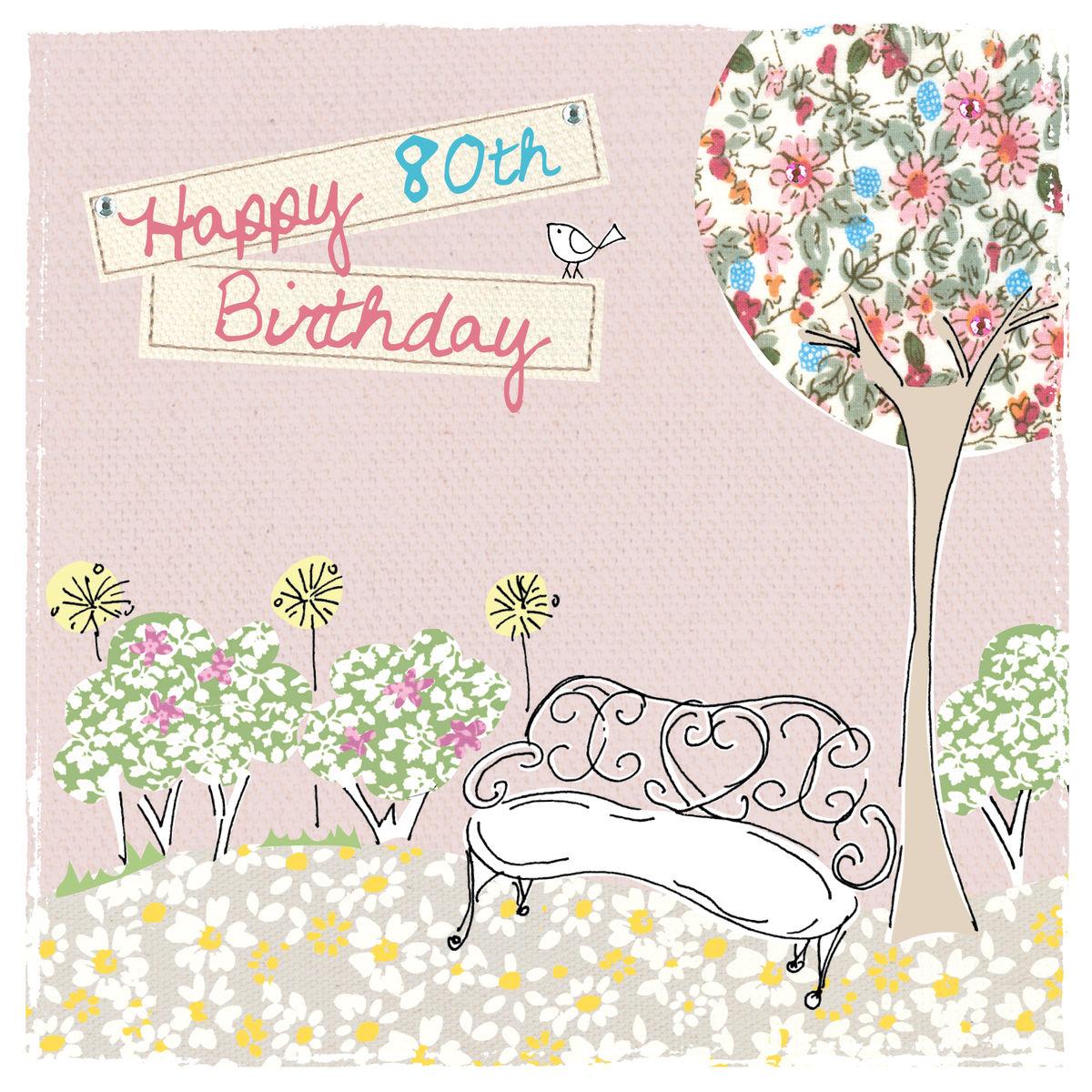 Garden Bench 80th Birthday Card