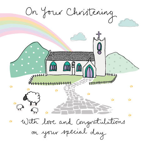 Rainbow & Church On Your Christening Card - product images