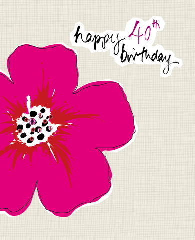 Flower,40th,Birthday,Card,buy 40th birthday card online, buy fortieth birthday cards for her online, female 40th card, 40th birthday card for her, card for 40th, 40th card, age 40 card, fortieth card, fortieth birthday card, age forty card, birthday card for forty
