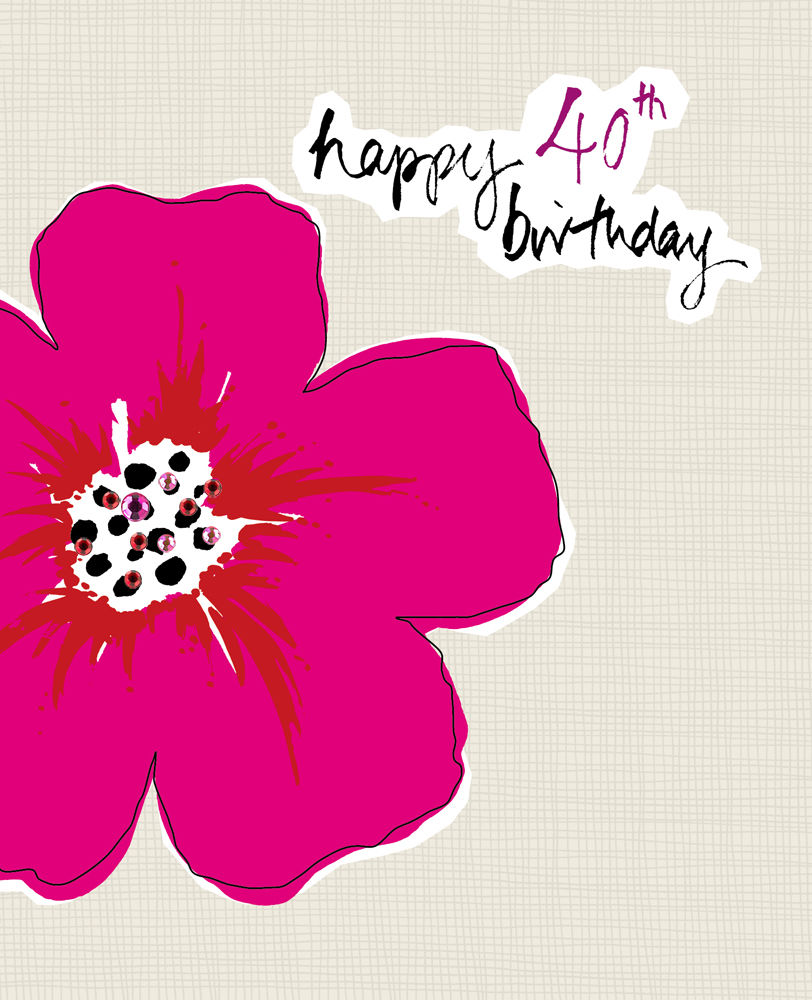 Flower 40th Birthday Card