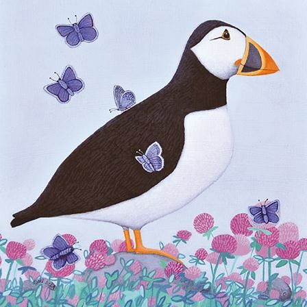 Puffin,&,Butterflies,Blank,Greetings,Card,buy ailsa black greetings cards online, buy bird blank greetings cards online, buy puffin greetings cards online, bird greetings cards, cards with animal, cards with birds, cards with flowers, cards with puffins, butterfly cards, cards w