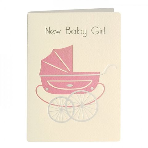 Pink,Pram,Retro,New,Baby,Girl,Card,buy new baby card online, buy new baby girl card online, cards for new babies, cards for new arrivals, woodland creatures baby card, animals baby card, new baby card, card for new baby, new baby girl card, baby girl card