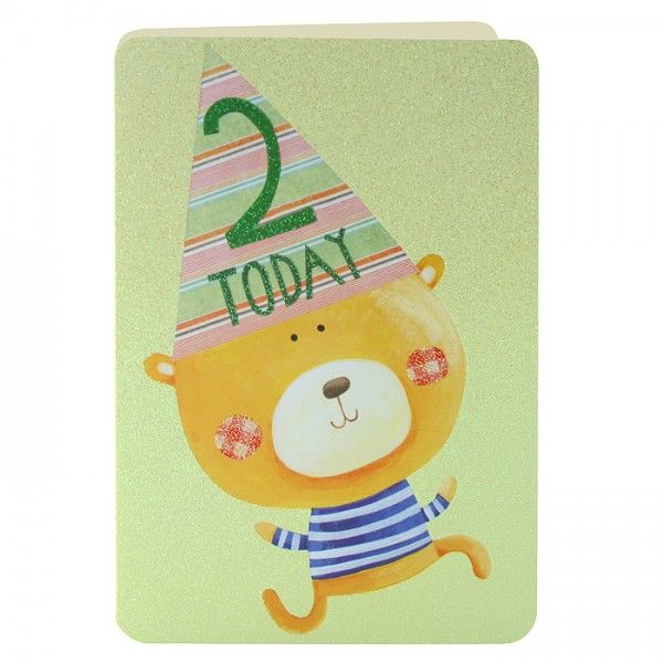Age 2 Teddy Bear Birthday Card - product images