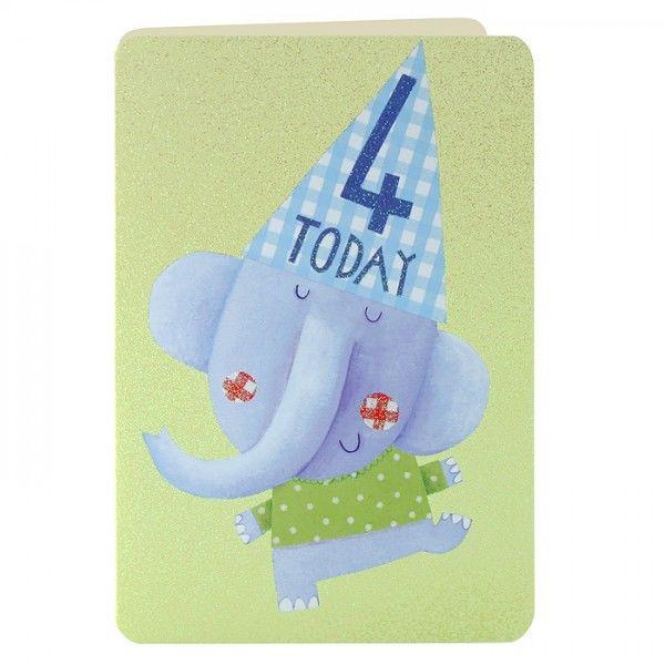 Age 4 Elephant Birthday Card Karenza Paperie