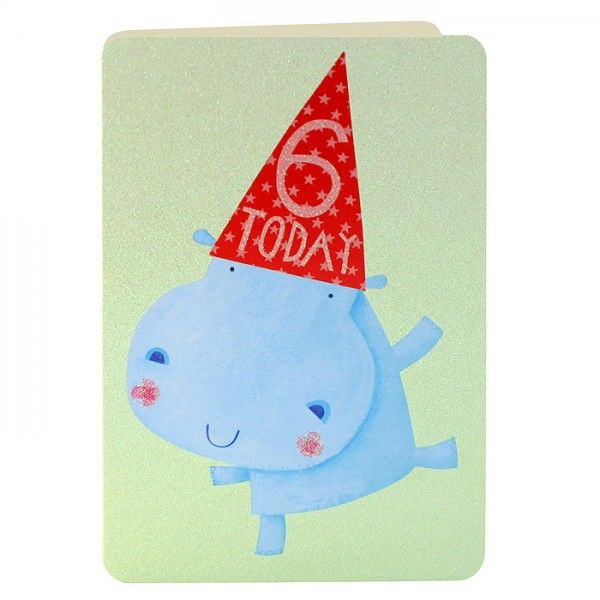Age 6 Hippo Birthday Card - product images