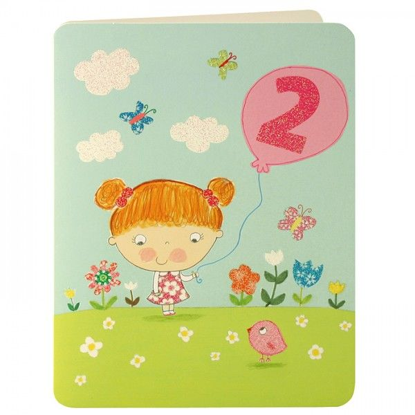 Girl & Balloon Age 2 Birthday Card - product images