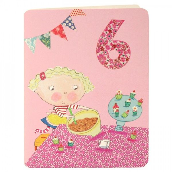 Girl & Cakes Age 6 Birthday Card - product images