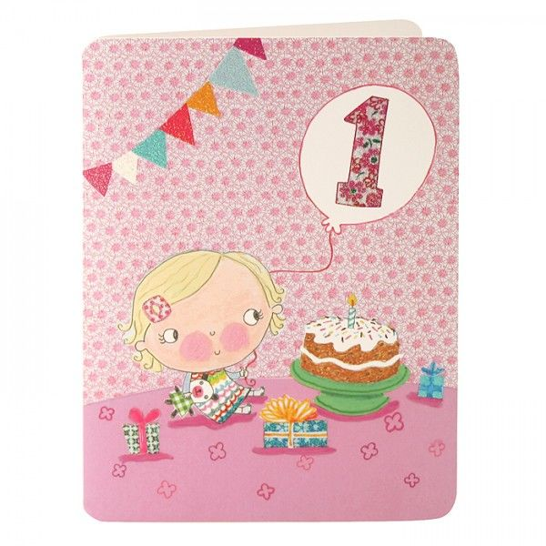 Baby Girls First Birthday Card - product images