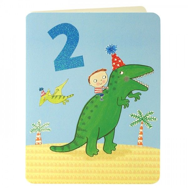 Boy & Dinosaur Age 2 Birthday Card - product images