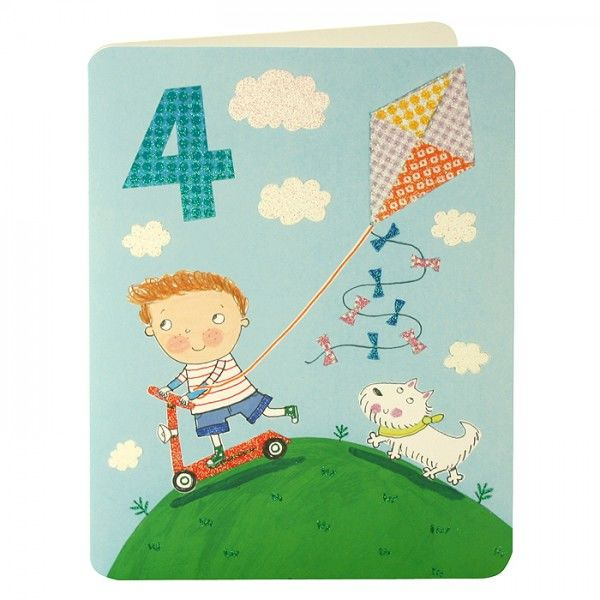 Boy & Kite Age 4 Birthday Card - product images