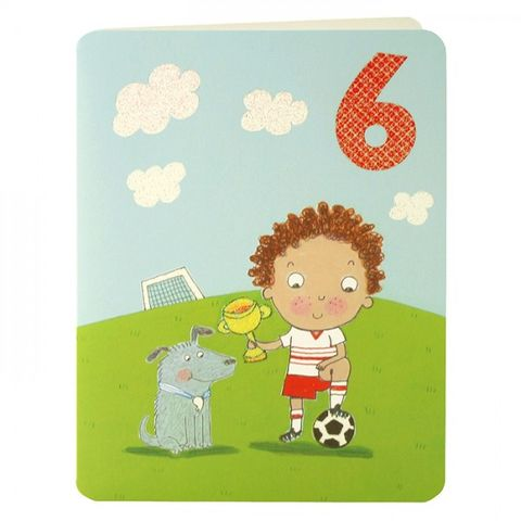 Footballer,&,Dog,Age,6,Birthday,Card,buy 6th birthday card online, buy little boys age 6 birthday card online, buy boys 6th birthday card online, buy boys age six birthday card online, football birthday cards, age 6 birthday cards, childrens birthday cards, birthday cards with footballers, f