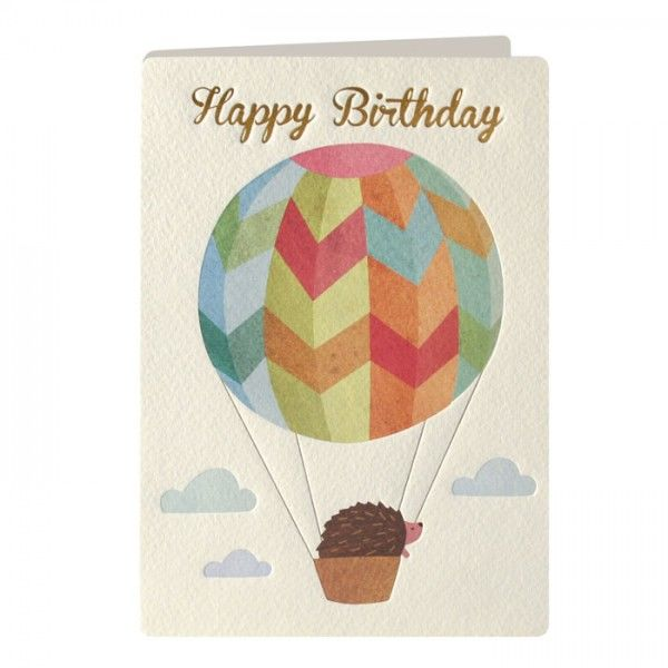 Hedgehog & Hot Air Balloon Birthday Card - product images