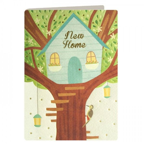 New Home Tree House & Woodpecker Card - product images