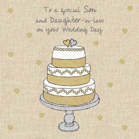 Son,&,Daughter-In-Law,Wedding,Cake,Card,buy son and daughter-in-law wedding cards online, buy wedding cards for son and daughter in law, buy special wedding cards for son and his bride, son and his new wife wedding day cards, luxury wedding cards for sons,