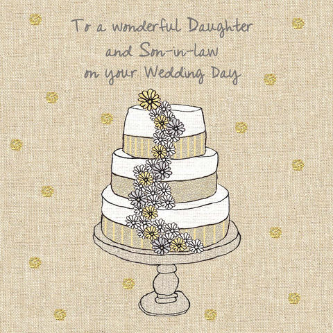 Daughter,&,Son-In-Law,Wedding,Cake,Card,buy daughter and son-in-law wedding cards online, buy wedding cards for daughter and son in law, buy special wedding cards for daughter and her groom, daughter and her husband wedding day cards, luxury wedding cards for daughters, daughter wedding day car