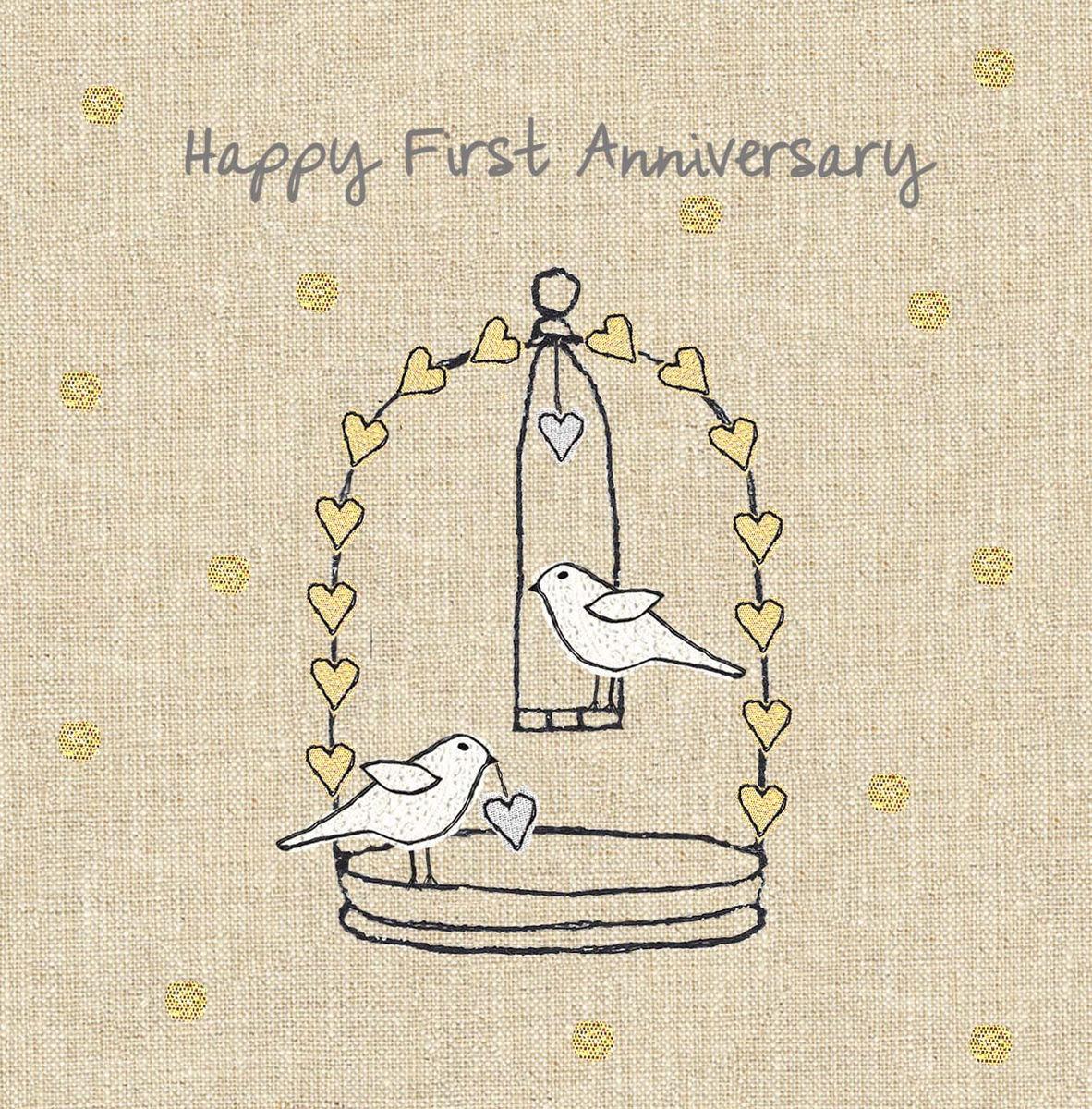 Anniversary Birds First Wedding Anniversary Card Karenza Paperie