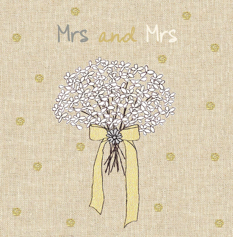 Hand Finished Mrs and Mrs Wedding Day Card - product images