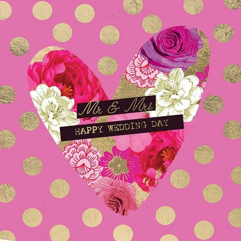 Dotty,Heart,Mr,and,Mrs,Wedding,Day,Card,buy wedding day card online, buy cards for weddings online, wedding card, mr and mrs wedding card, happy wedding day, heart wedding card, dotty card, spots, dots, floral heart, flowers, pink love heart wedding card