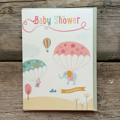 Parachutes,Baby,Shower,Card,buy baby shower cards online, buy mum to be cards online, buy cards for baby showers online, baby news card, happy pregnancy card, maternity leave card, parents to be card