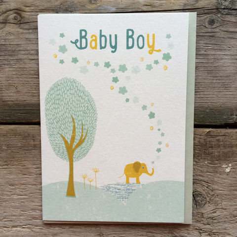 Elephant Baby Boy New Baby Card - product images  of