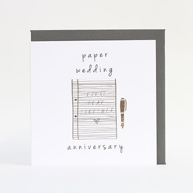 Paper First Wedding Anniversary Card Karenza Paperie