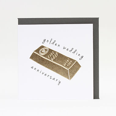 Gold,Bar,50th,Wedding,Anniversary,Card,buy golden wedding anniversary card online, buy 50th wedding anniversary card online, fiftieth wedding anniversary cards, cards for gold anniversary, fifty wedding anniversary card, cards for wedding anniversaries,