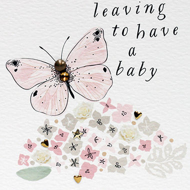 Handmade Butterfly Leaving To Have A Baby Card - product images  of