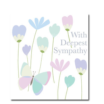 Butterfly,and,Flowers,With,Deepest,Sympathy,Card,buy with sympathy card online, deepest sympathy card, thinking of you card, with condolences card, bereavement card, so sorry for your loss sympathy card