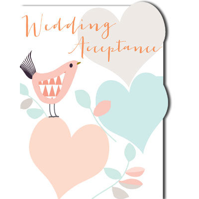 Bird,&,Hearts,Wedding,Acceptance,Card,buy acceptance cards online, buy card for wedding acceptance online, cards for acceptance, buy wedding acceptance cards online, thank you for the invitation card, bird acceptance card, hearts acceptance card
