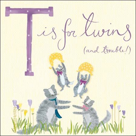 Cats,T,Is,For,Twins,New,Babies,Card,uy new twins cards online with cats, buy twins new baby card online, buy cat cards for new babies online, buy cards for baby twins, cards for twins, cat cards for new baby twins, double trouble twins card, t is for twins baby card, new arrivals card