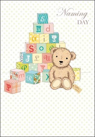 Teddy Bear & Toy Bricks Naming Day Card - product images