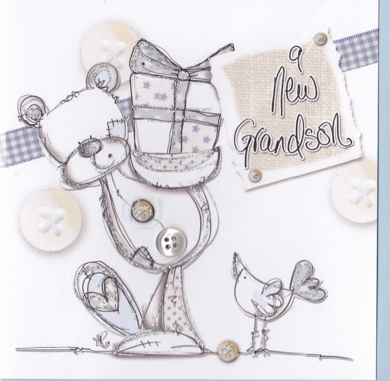 Hand Finished Baby Grandson Card - Grandparents Congratulations Card - product images  of