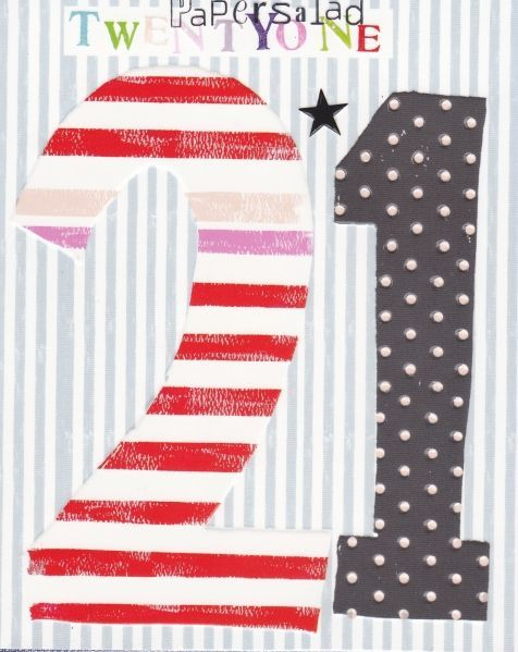 Striped 21st Birthday Card - product images  of