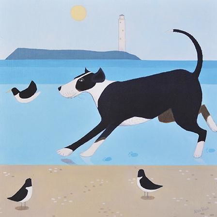 Dog,&,Birds,Blank,Greetings,Card,buy ailsa black greetings cards online, buy animal blank greetings cards online, buy dog greetings cards online, dogs greetings cards, cards with animal, cards with birds, cards with lighthouse, seaside greetings cards, seagull greeting card, lighthouse c