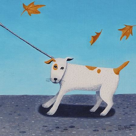 Dog,&,Leaves,Blank,Greetings,Card,buy ailsa black greetings cards online, buy animal blank greetings cards online, buy dog greetings cards online, terrier greetings cards, cards with animal, cards with dogs, cards with dog, autumn leaves cards, cards with leaves, dog walk card