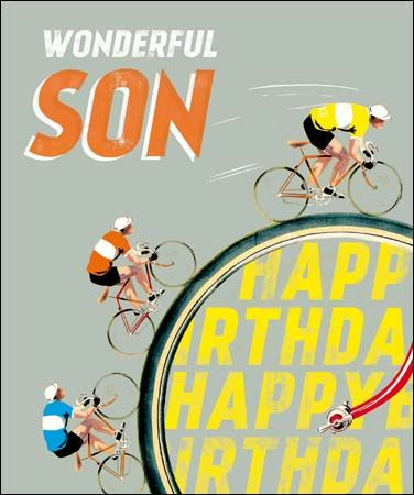 Cyclists,Son,Birthday,Card,buy son birthday cards online, buy birthday cards for sons online, cyclist birthday card for son, son bicycle birthday cards, tour de france birthday cards, bike race card, yellow shirt birthday cards