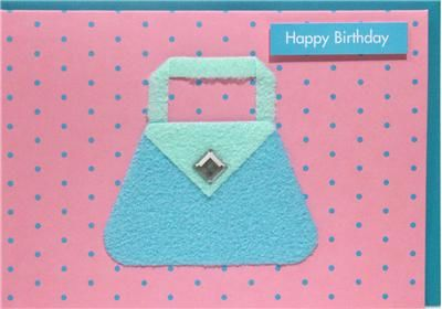 Blue,Handbag,Birthday,Card,buy handbag birthday cards online, handbag birthday cards for her, female birthday cards with bag, pink birthday card, dotty birthday card for her,