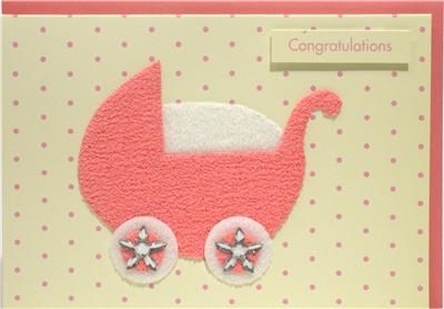 Pink Pram Congratulations New Baby Card - product images