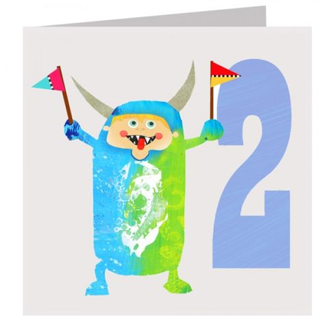 Monster,Boys,2nd,Birthday,Card,buy 2nd birthday card online, buy age 2 birthday card online, buy boys second birthday card online, boys monster birthday card, monster 2nd birthday card,