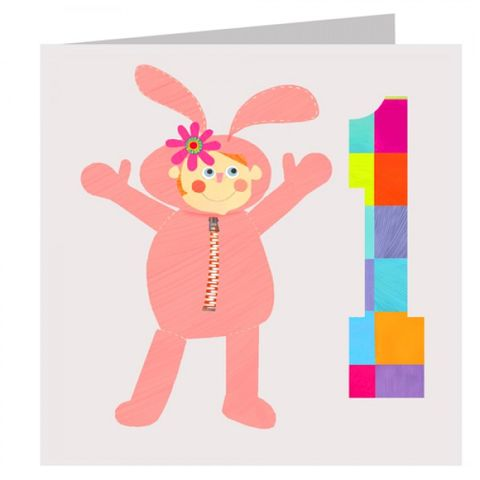 Bunny,Girls,1st,Birthday,Card,buy 1st birthday card online, buy age 1 birthday card online, buy girls first birthday card online, girls bunny birthday card, bunny rabbit 1st birthday card,