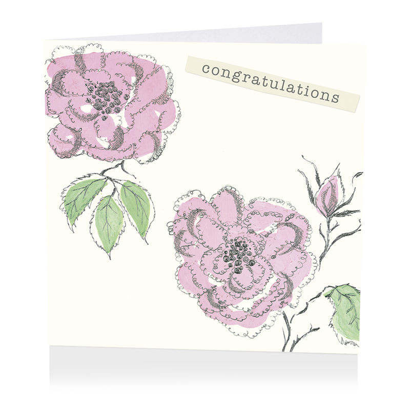 Pink Roses Congratulations Card - product images