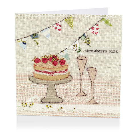 Strawberry,Fizz,Blank,Greetings,Card,buy female birthday cards online, buy birthday cards for her online, buy summer celebration cards online, buy stawberry cake card online, buy pink fizz congratulations cards online,