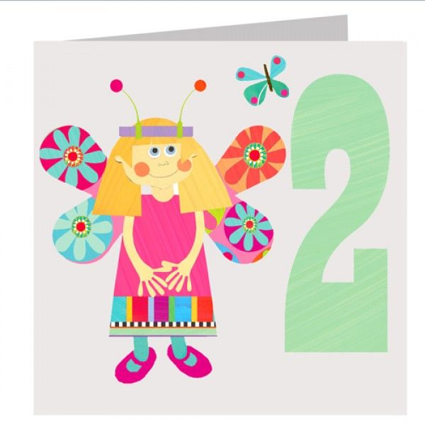 Butterfly Girls 2nd Birthday Card - product images